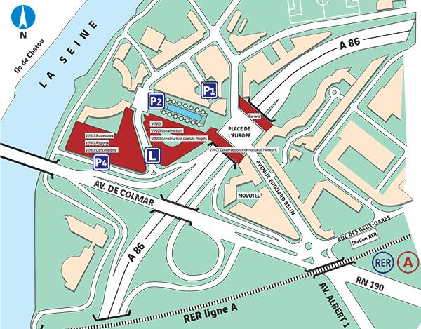 Plan d'accès au siège de VINCI